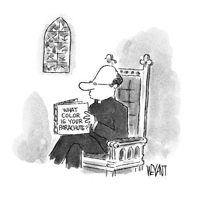 Priest reading a book entitled 'What Color Is Your Parachute?' - New Yorker Cartoon-Christopher Weyant-Premium Giclee Print