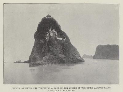 Priests Dwelling and Temple on a Rock in the Middle of the River Yangtse-Kiang--Giclee Print