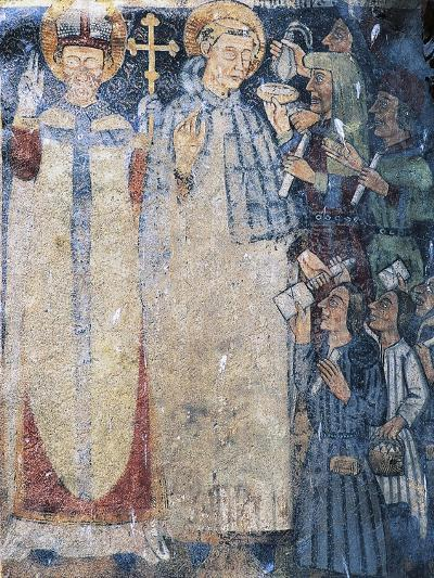 Priests, Fresco in Courtyard of Fenis Castle--Giclee Print