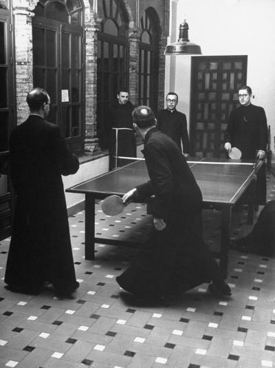 Priests Playing Ping-Pong at Social School-Dmitri Kessel-Photographic Print