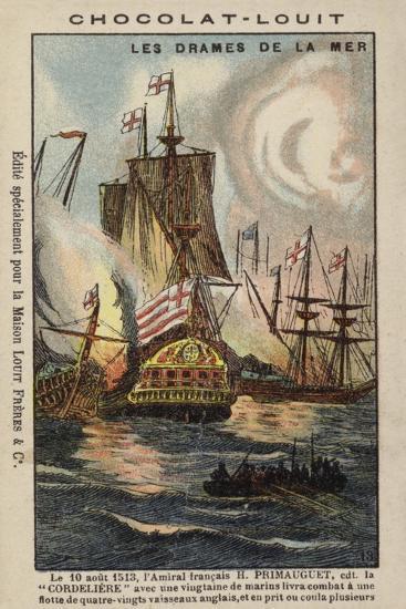 Primauguet, Breton Naval Commander, Attacking the English Fleet--Giclee Print