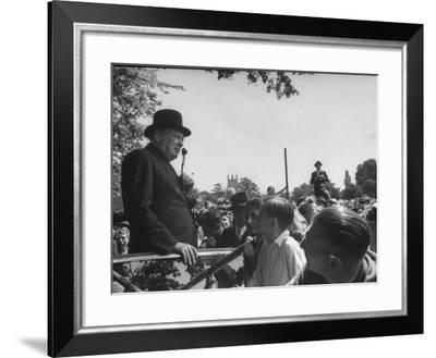 Prime Minister Winston Churchill Making a Speech During an Election Tour--Framed Photographic Print