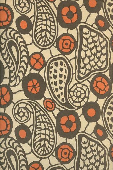 Primitive Brown Paisleys--Art Print