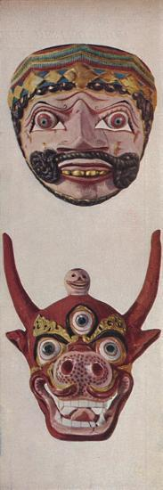 'Primitive Cultures in Ritual and Festival Masks - Festival mask and Cow-face mask ', c1935-Unknown-Giclee Print