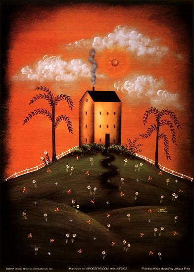 Primitive White House-Jessica Fries-Art Print
