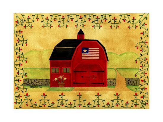 Primtive American Red Folk Art Barn-Cheryl Bartley-Giclee Print