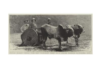 Prince Albert Victor with the Elephant King in a Jungle Waggon in Mysore, India--Giclee Print