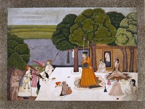 Prince and Attendants Visiting Noble Yogini at an Ashram, India