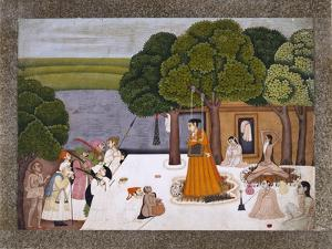 Prince and Attendants Visiting Noble Yogini at an Ashram, India