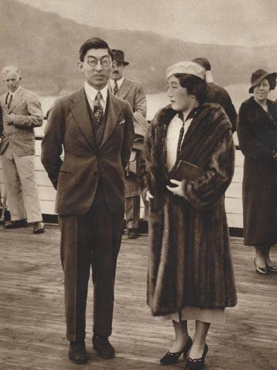 Prince and Princess Chichibu Arriving on the Queen Mary, April 12Th, 1937--Photographic Print