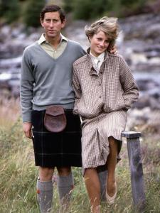 Prince and Princess of Wales at Bridge of Dee, Balmoral August 1981