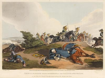 Prince Blucher under His Horse at the Battle of Waterloo-John Augustus Atkinson-Giclee Print