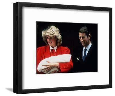 Prince Charles and Princess Diana Leaving Hospital After the Birth of Prince Harry September 1984