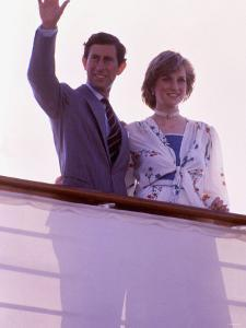 Prince Charles and Princess Diana Standing Together on Board Ship to Start Their Honeymoon