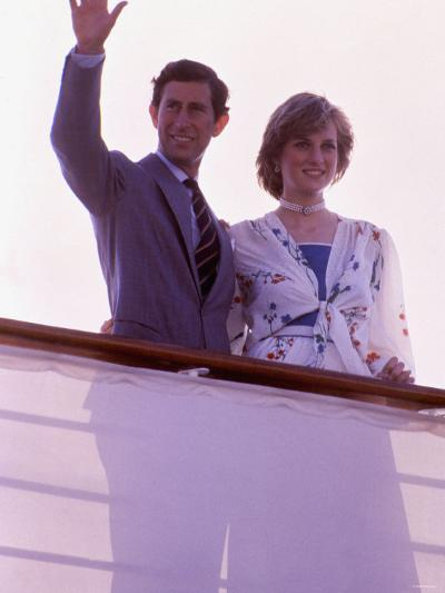 Prince Charles and Princess Diana Standing Together on Board Ship to Start Their Honeymoon--Photographic Print