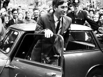 Prince Charles at Cambridge University Steps from His Mini Car on Arriving at Trinity College--Photographic Print