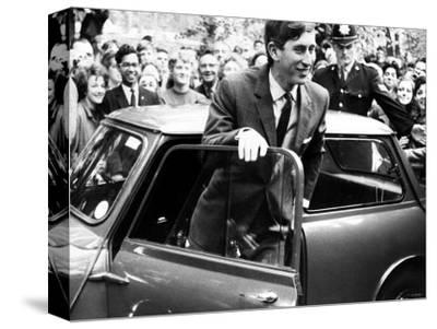 Prince Charles at Cambridge University Steps from His Mini Car on Arriving at Trinity College