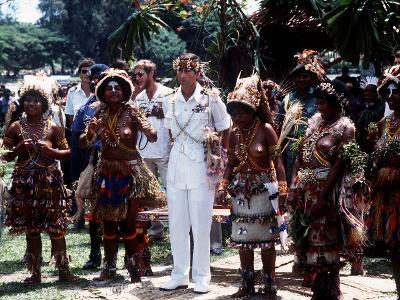 Prince Charles in Papua New Guinea Crowned 10th Lapan of Manus August 1984--Photographic Print