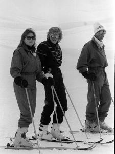 Prince Charles, Princess Diana, Duchess of York Skiing Down an Off-Piste Ski Slope During Holidays