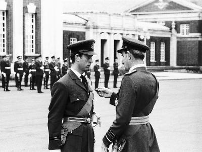 Prince Charles Receiving Pilots Wings from Air Chief Marshal Sir Denis Spotswood--Photographic Print