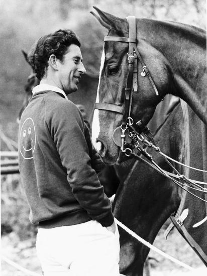 Prince Charles with His Polo Pony Pan's Folly May 1977--Photographic Print