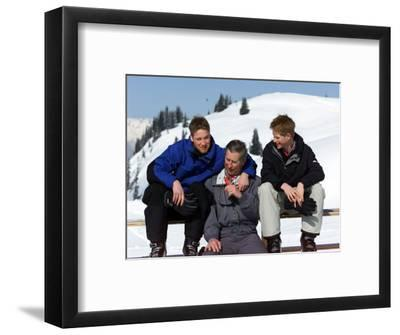 Prince Charles with His Two Sons Prince William and Prince Harry on the Ski Slopes in Klosters