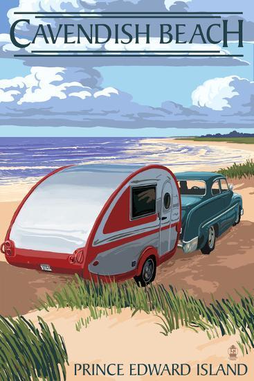 Prince Edward Island - Cavendish Beach and Camper-Lantern Press-Art Print