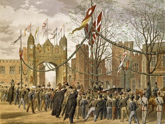 Prince of Wales and Alexandra of Denmark's Wedding, Procession Passing Eton College--Giclee Print