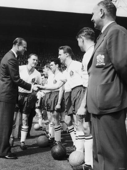 Prince Philip Meets the Bolton Players at the FA Cup Final Against Manchester United--Photographic Print