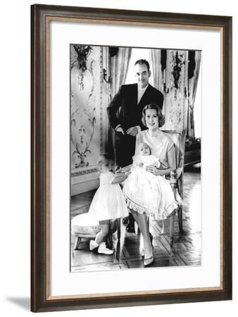 Prince Rainier of Monaco with His Wife Grace Kelly, and their Children Caroline and Albert,…--Framed Photographic Print
