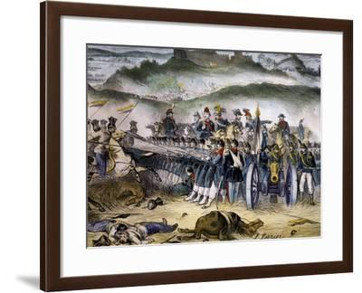 Prince Umberto of Savoy Forming Quadrato with Fourth Battalion in Custoza--Framed Giclee Print