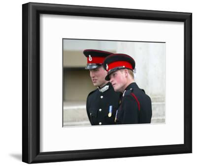 Prince William and Prince Harry after The Sovereign's Parade that marked the completion of Prince H