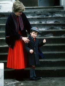 Prince William arriving at his first day at school with his mum Princess Diana