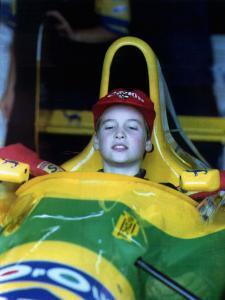 Prince William in F1 Benetton car at British Grand Prix , July 1992