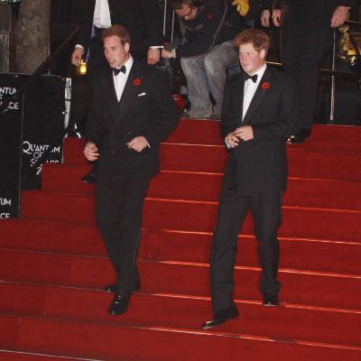 Prince William (left) and his brother Prince Harry arrive for the world premiere of the new James B--Photographic Print