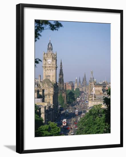 Princes Street Including the Waverley Hotel Clock Tower, Edinburgh, Lothian, Scotland, UK-Richardson Rolf-Framed Photographic Print