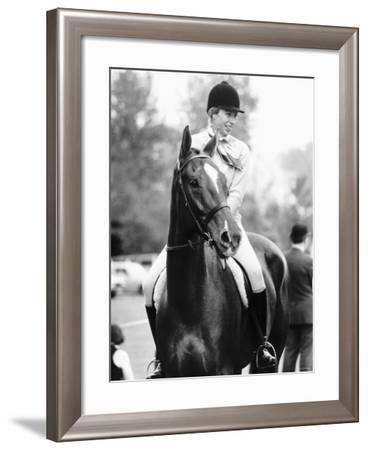 Princess Anne Daughter of Queen Elizabeth Sitting on Horse For the First Time Since Her Fall--Framed Photographic Print