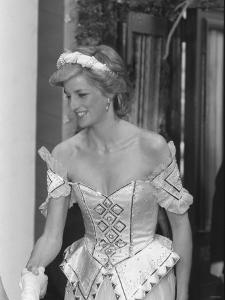 Princess Diana July 1986 Pictured Arriving at the Bolshoi Ballet in London Wearing a Corset Dress