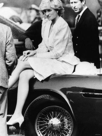 Princess Diana Sitting on Prince Charles Aston Martin Car at Smiths Lawn Windsor