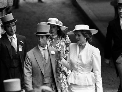 Princess Diana with Prince Charles and Oliver Hoare and His Wife Diane at Ascot Racecourse--Photographic Print