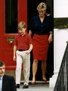 Princess Diana with Prince William leaving Wetherby School