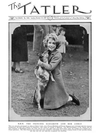 Princess Elizabeth and Her Corgi--Photographic Print