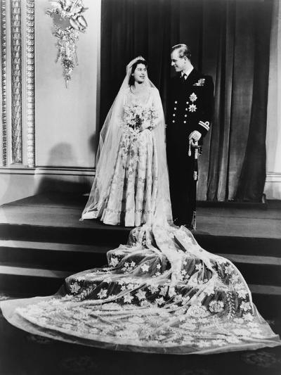 Princess Elizabeth and Prince Philip in a Full-Length Wedding Portrait, 1947--Photo