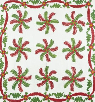 Princess Feather Design Coverlet, Ohio, Quilted and Appliqued Cotton, Circa 1850