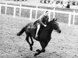 Princess Margaret Riding a Horse at Ascot Before Spectators Arrive For Meeting