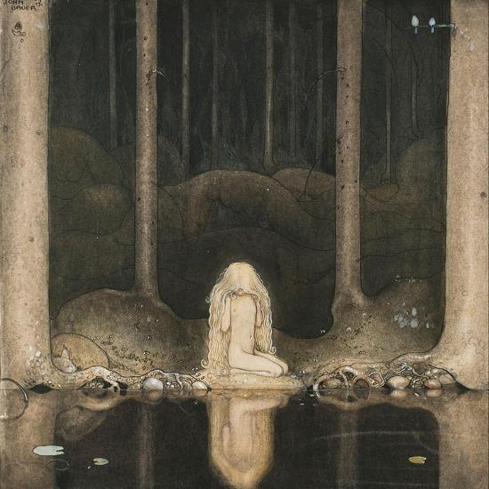 Princess Tuvstarr Is Still Sitting There Wistfully Looking into the Water, 1913-John Bauer-Giclee Print