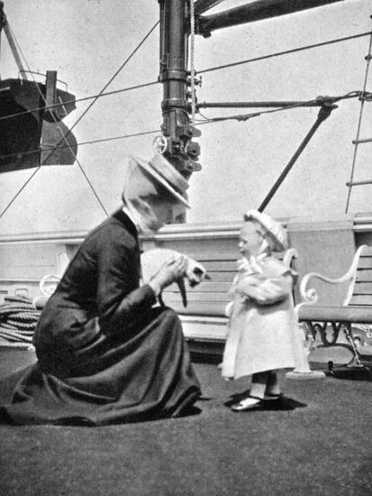 Princess Victoria (1868-193) with Prince Olav of Norway (1903-199), 1908--Giclee Print