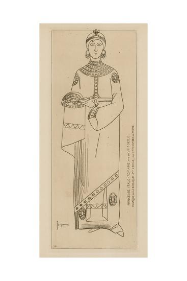 Princesse Italo-Romaine. Fin Du Viiie Siecle. Mosaique De La Basilique Ste Cecile-Raphael Jacquemin-Giclee Print