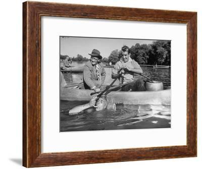Princeton University Student George Montgomery Drinking Beer from a Hose--Framed Premium Photographic Print