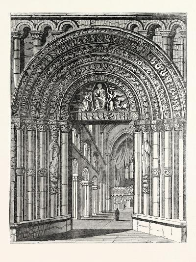 Principal Entrance and Interior of Rochester Cathedral--Giclee Print